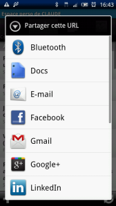 Ecran de partage sous Android