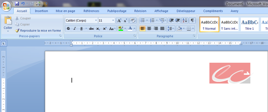 Capture d'écran de la page Word avec le numéro de page inséré dans le logo des Experts-Comptables