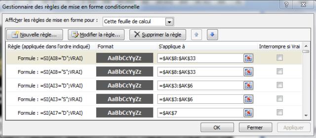La mise en forme conditionnelle avec formule dans le calendrier perpétuel