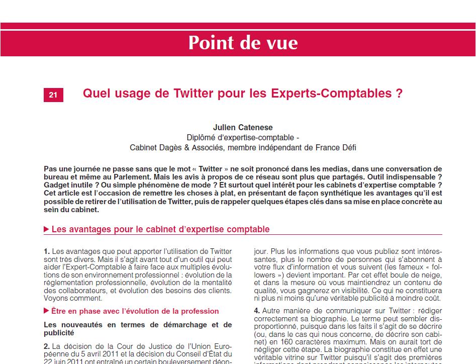 quel usage de twitter pour les experts