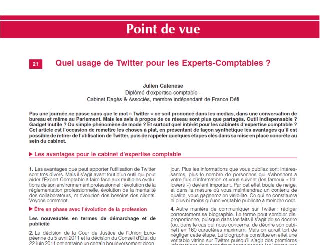 Extrait article LexisNexis : Quel usage de Twitter pour les experts-comptables ?