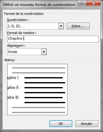 Image 10 boîte de dialogue «définir un nouveau format de numérotation»