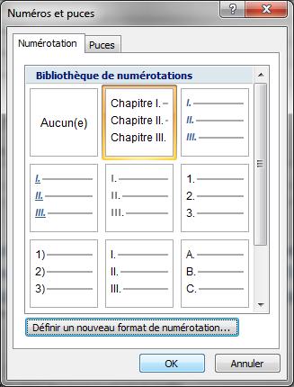 Image 11 boîte de dialogue «numéros et puces» avec le nouveau format