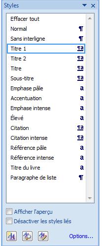 boîte de dialogue «styles»