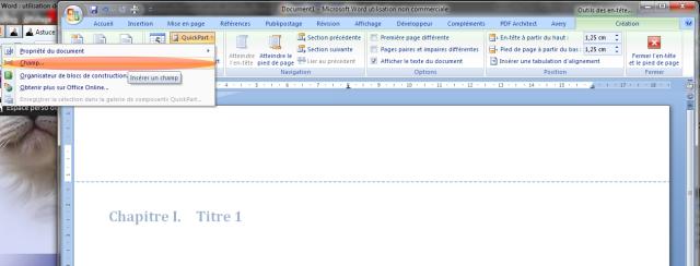 Image 15 rubrique «champ» dans le menu «Quickpart»