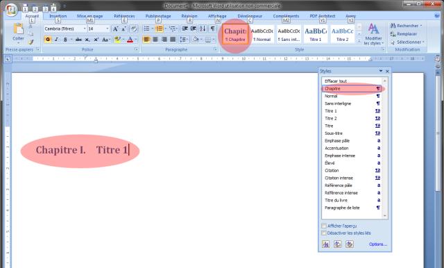 Image 13 Exemple de l'application du style «chapitre» créé dans Word